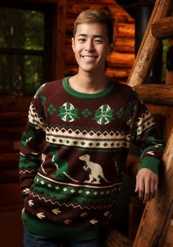 Ugly Christmas Sweater Dinosaur Brown and Green