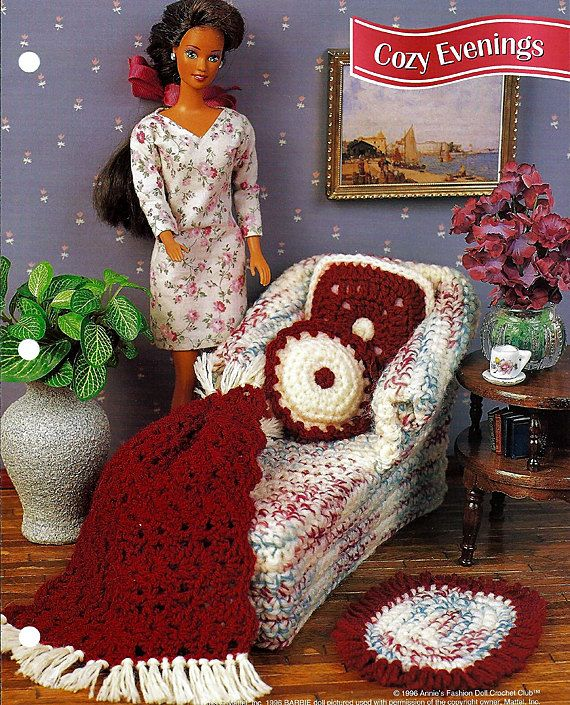 Cozy Evenings -Chaise Lounge -  Barbie Furniture Crochet Pattern. $4.00, via Etsy.