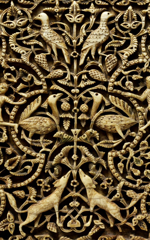 Detail from a Plaque | 10th–early 11th century; Caliphal | Attributed to Córdoba, Spain | Ivory, quartz, pigment || The Metropolitan Museum of Art
