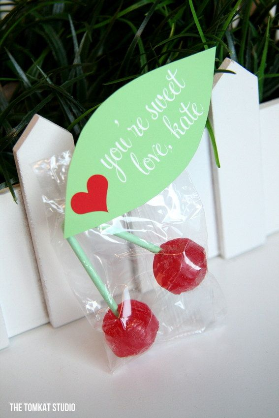 Customized Valentine's Leaf Tags for Cherry Lollipops by The TomKat Studio