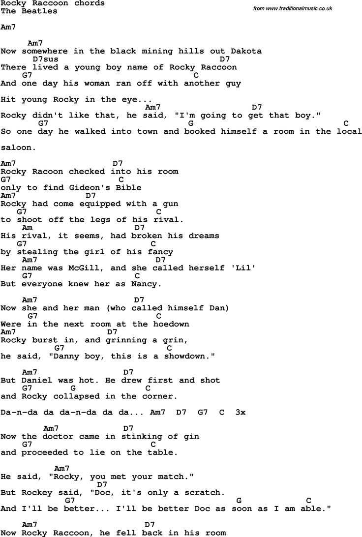 Song Lyrics with guitar chords for Rocky Raccoon The