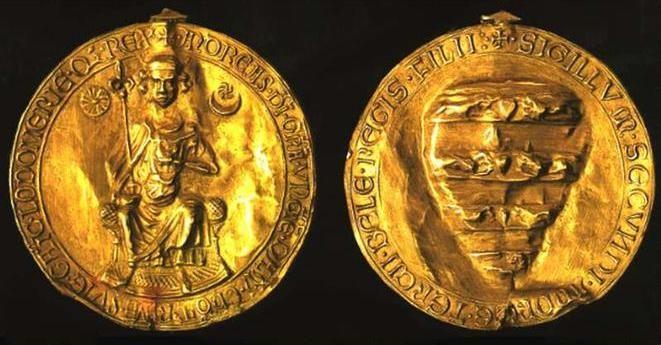"""Az Aranybulla /Harmat Árpád Péter/  Az arany függő pecséttel ellátott királyi oklevelet, melyet 1222 április 24 -én Székesfehérváron adott ki II. András Árpád-házi királyunk, és 1848 –ig alapjaiban rögzítette a magyar nemesség kiváltságait és jogait, Aranybulla néven """"jegyezte meg""""a történetírás."""
