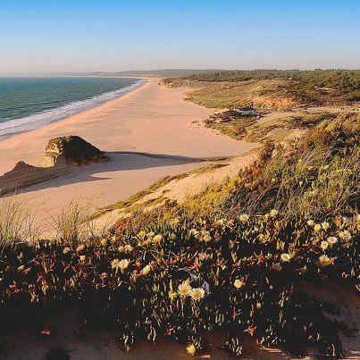 Miles and miles onf sunny sandy beaches - Praia do Meco, Sesimbra. Portugal
