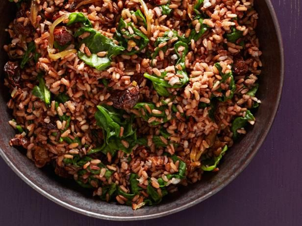 Red Rice with Spinach and Dried Cherries Recipe from Food Network