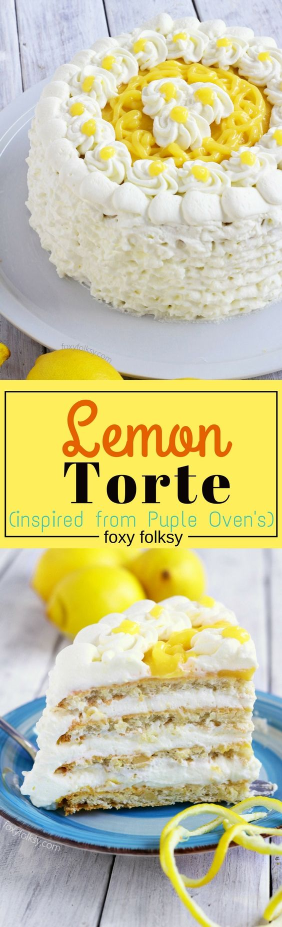 Try this lemon Torte cake (inspired by Purple Oven) for a refreshingly sweet, tangy and nutty deliciousness. | www.foxyfolksy.com
