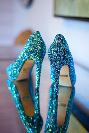 Sparkly turquoise blue