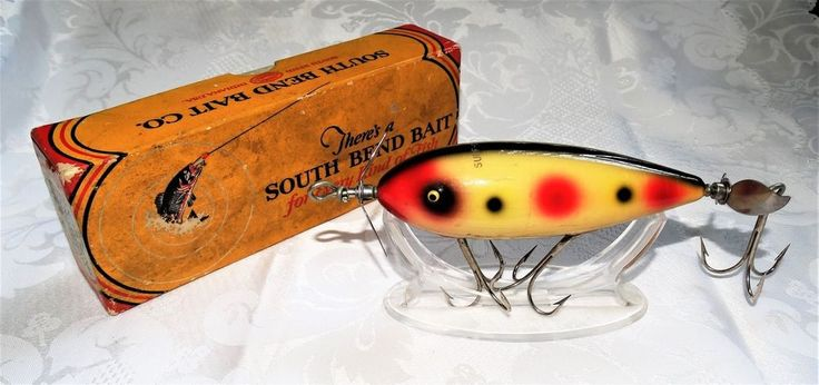 Vintage South Bend Surf Oreno 963 Fishing Lure Yellow Red Polka Dots Orig Box #SouthBend