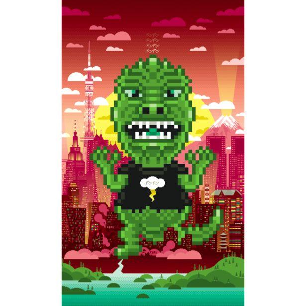 PIXEL ART STICKER POSTER Monster in Tokyo by Laurent Bazart. By Poppik.