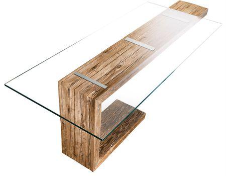 Tavolo Living legno+cristallo