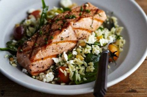Curtis Stone's grilled salmon with orzo