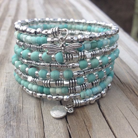 Darling Dragonfly Multi Coil Memory Wire Wrap Bracelet With Seashell Charm