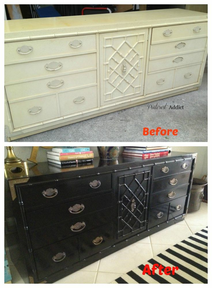 Thomasville Faux Bamboo Buffet Before and After: