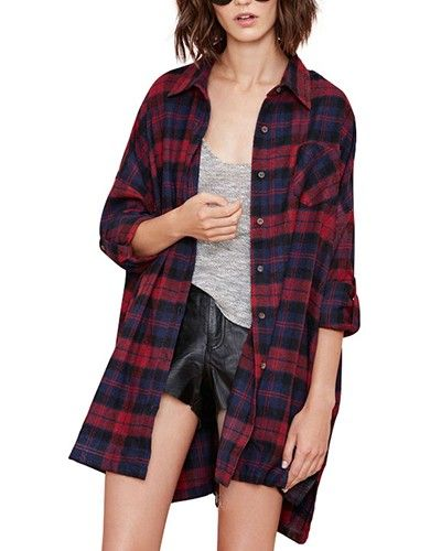 Red Check Print Oversize Longline Cotton Shirt JA0150023
