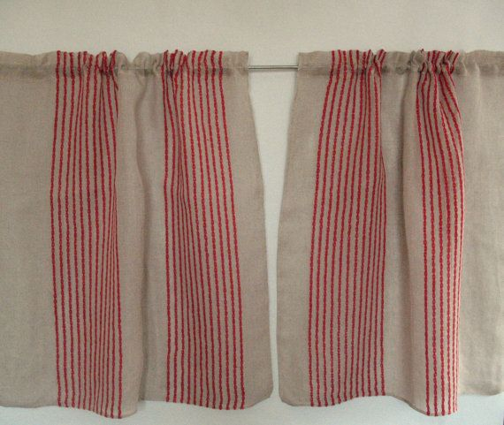 Curtain Lace Curtains Cafe Curtains Red Natural Gray Striped Linen Curtains  Kitchen Curtains Shabby Chic Curtains