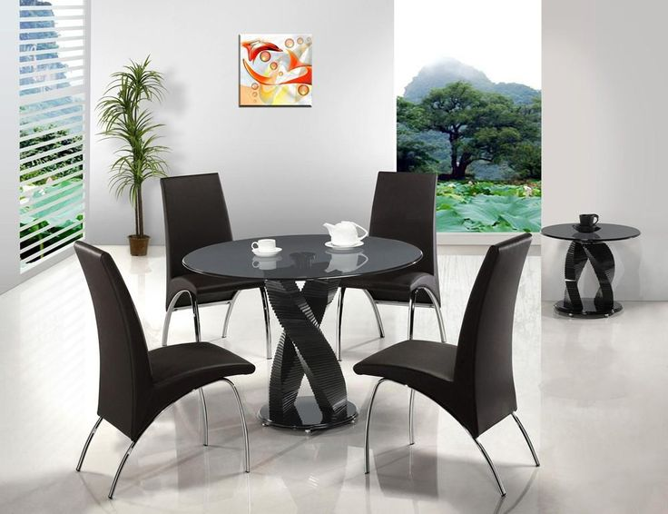 Modern Black Round Dining Table