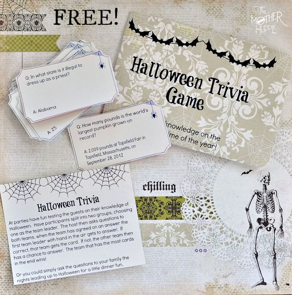 Free Printable Halloween Trivia - fun for the family or to take to a Halloween party. Includes printable trivia cards, envelope, and instruction card.