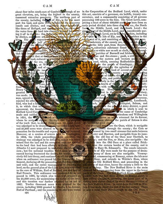 The Mad Hatter Dictionary Print, Deer print poster decor wall art wall hanging wall decor Deer illustration gift Alice in wonderland