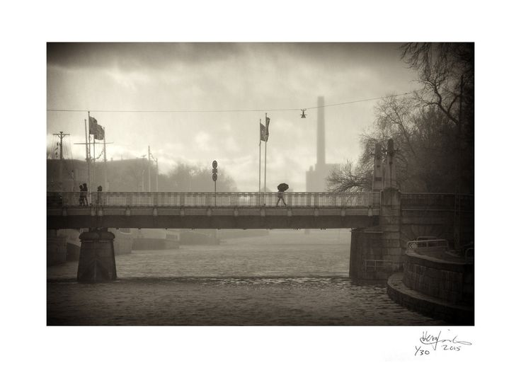STORMY WEATHER | The Aura River Bridge during a November storm | First edition print (1/30) on A4 size 300 gsm ICE SILVER white iridescent card with a silver sheen, signed and numbered. FINE ART PRINTAVAILABLE at TAIKO.FI online art gallery