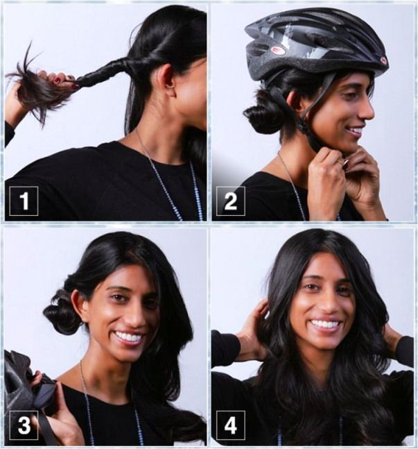 10 Easy Helmet Friendly Hairstyle Tutorials For Looking Stylish When Cycling Cycling Cycling Haartutorial Motorrad Frisuren Haar Styling