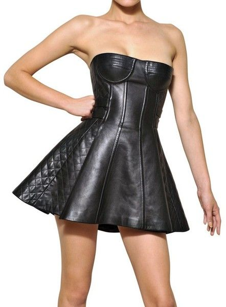 Balmain ~ Quilted Nappa Leather Strapless Dress