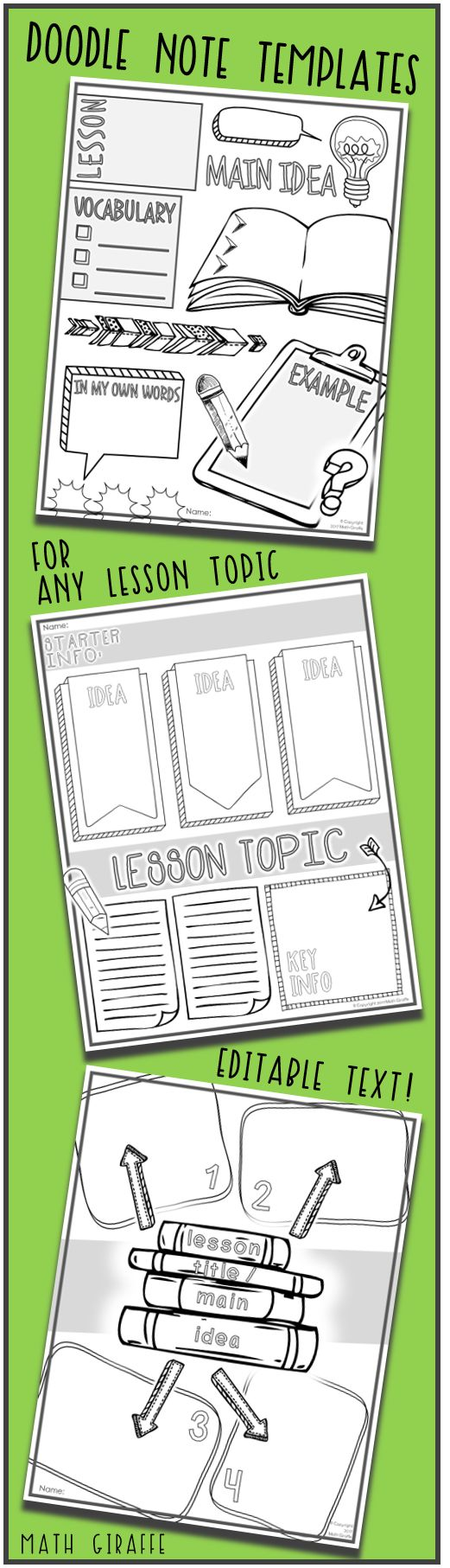 Templates for making interactive doodle notes (any class, any topic / subject, and any grade level) ... Based on brain research -- Doodle notes increase focus, learning, and retention