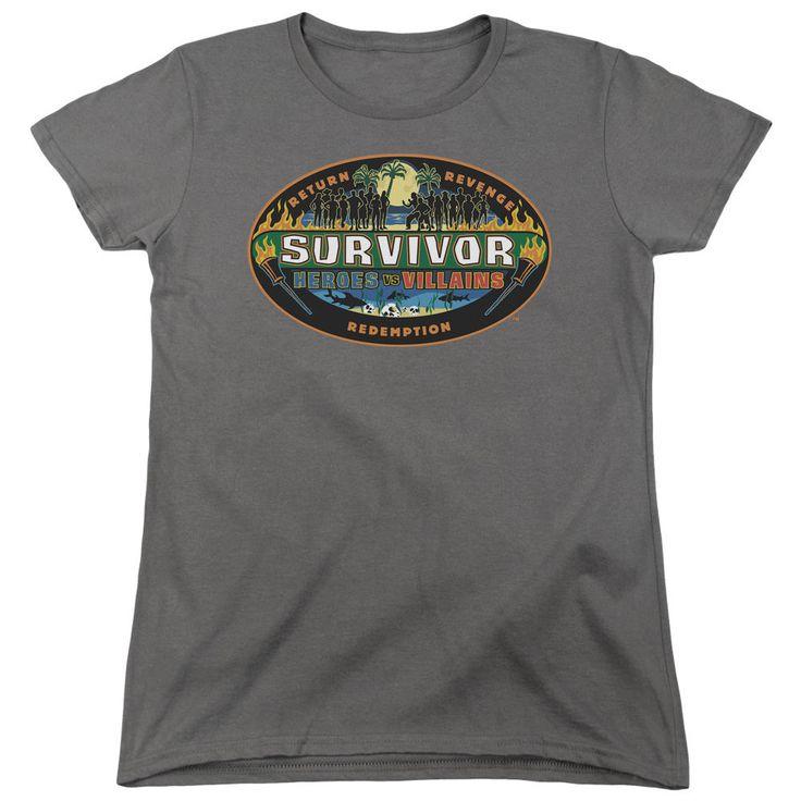 Survivor Heroes Vs Villains Charcoal Womens T-Shirt
