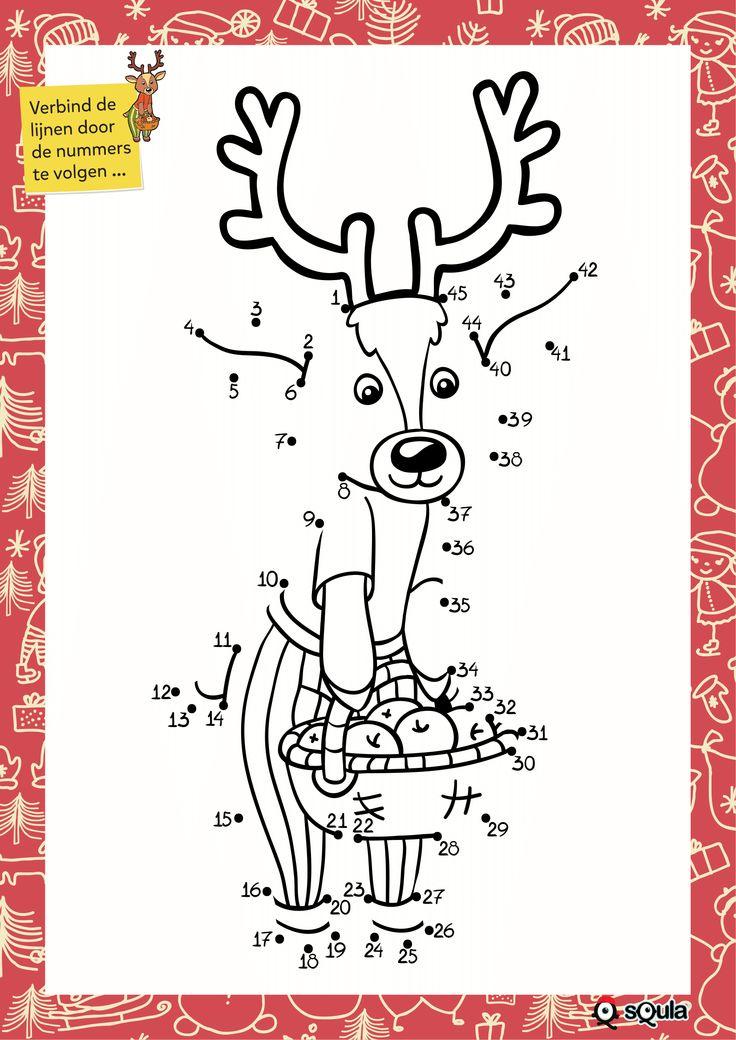 Verbind de lijnen door de nummers te volgen... uit het Squla kerstvakantieboek