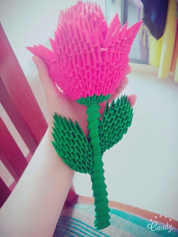 3d origami rose