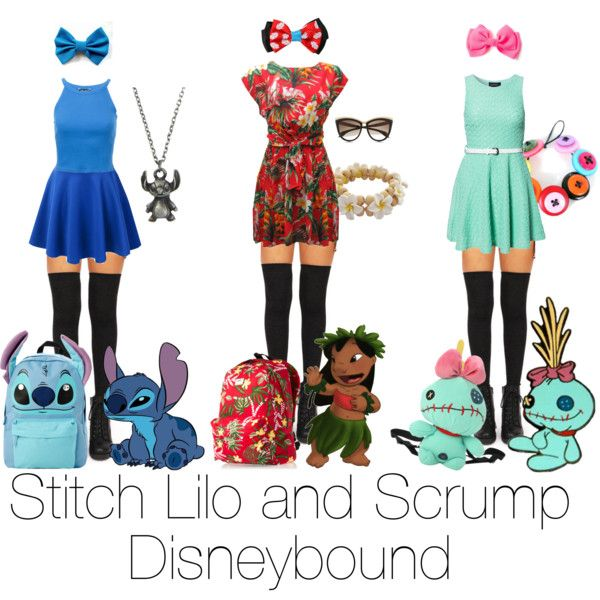 Lilo and stitch and scrump group disneybound by fivesos-oasis on Polyvore featuring Ruby Rocks, Club L, Disney, Vans and Alexander McQueen