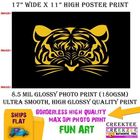 11x17 Deco Cartoon Poster Photo Print Art Of Tiger Face Landscape Orientation High Quality Glossy Smooth Photo Print In 2020 Cartoon Posters Photo Printing Photo Posters
