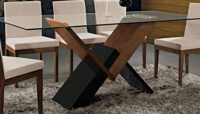 Base de mesa Nobel fabricada em carvalho p/ tampo de vidro, laca preta e castanho