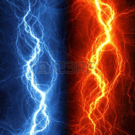 火と氷の雷の抽象的な背景. 写真素材 - 34328508