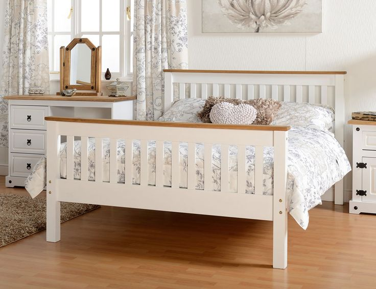 Sturdy and strong white and distressed pine wooden double bed frame with a shaker style finish.FREE Delivery.