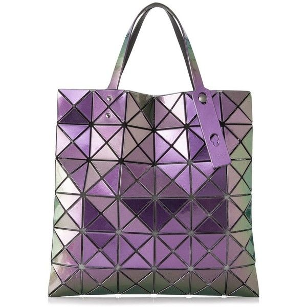 Issey Miyake Baobao Lucent Metallic Tote ($490) ❤ liked on Polyvore featuring bags, handbags, tote bags, purple, tote purses, purple tote bags, issey miyake handbag, embossed purse and tote hand bags