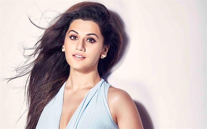 Descargar fondos de pantalla Taapsee Pannu, 4k, Bollywood, la actriz India, retrato, morena, vestido azul, hermosa mujer india