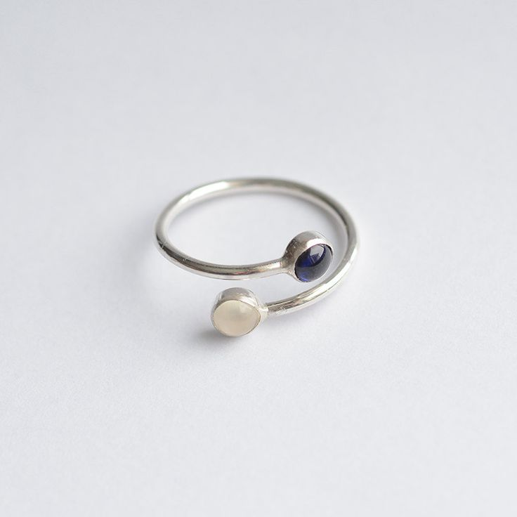 Dual BirthStone Ring - Engagement Ring - Two Stone Ring Couples - Gemstone Couples Ring - Mom Ring - Stacking Silver Ring - Mothers Day 4086