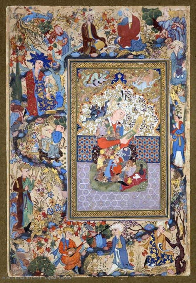 Muhammad Charif Musavvir  The reader  C. 1600-1630  Bukhara,  Gouache and gold on paper  H. 19.2 cm; W. 11.4 cm (excluding margins)  Page: H. 37 cm; W. 24.4 cm  Left leaf of the initial double page of a manuscript