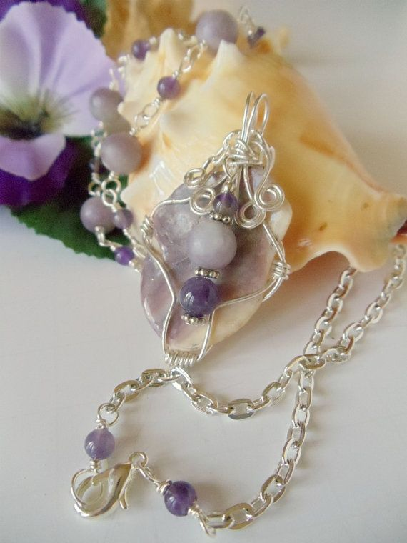 Quahog Clam Shell Pendant Lilac Jasper Amethyst by simplysuzie2, $30.00