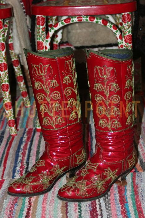 Traditional hungarian boots - Stock Photo