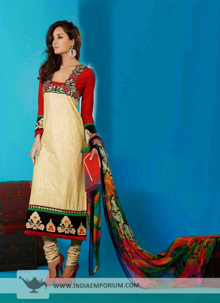 Beige Cotton Churidar #Suit With Patch Work  #Bollywood  #BollywoodFashion