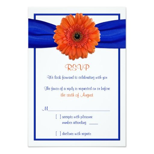 "Orange Gerbera Daisy Blue Wedding Reply Card 3.5"" X 5"" Invitation Card"