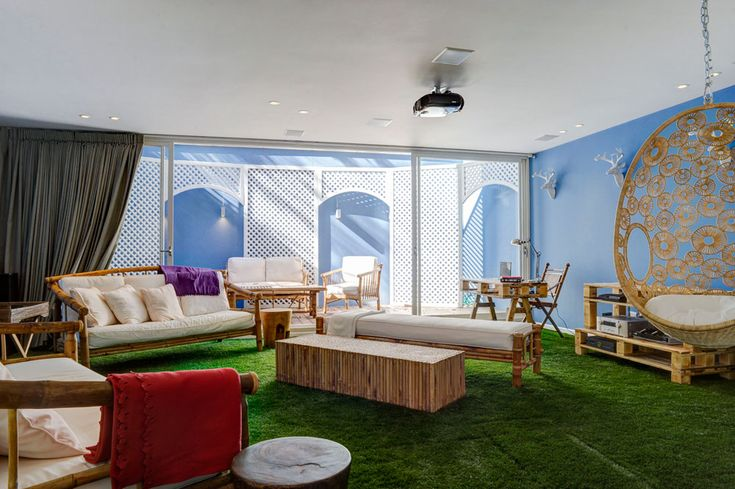 False Grass used as carpet - the outside is inside