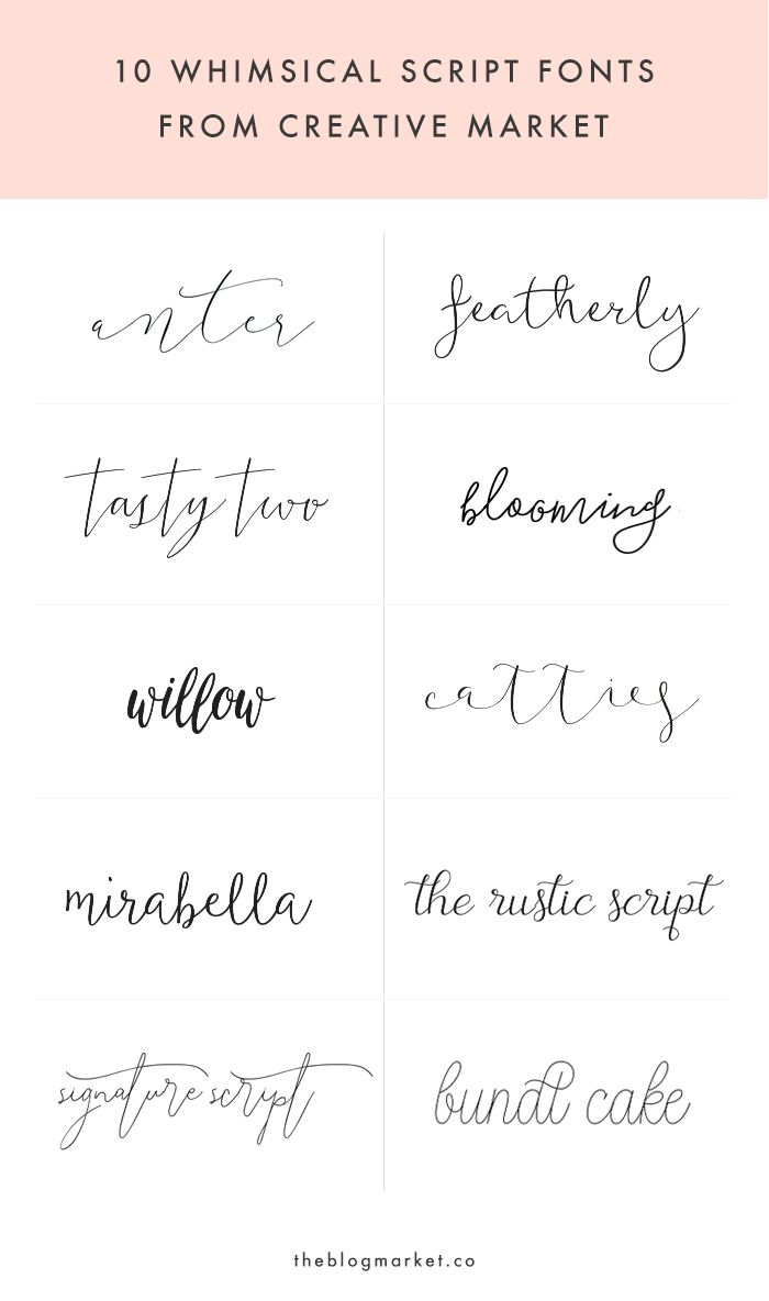 Whimsical Script Fonts From Creative Market // tattoo font inspiration                                                                                                                                                                                 More