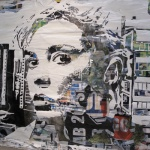 Vhils created a series of works where the canvas used was big advertising billboards peeling its paper and using white paint to create a new, strong critic consumerism and advertising message.