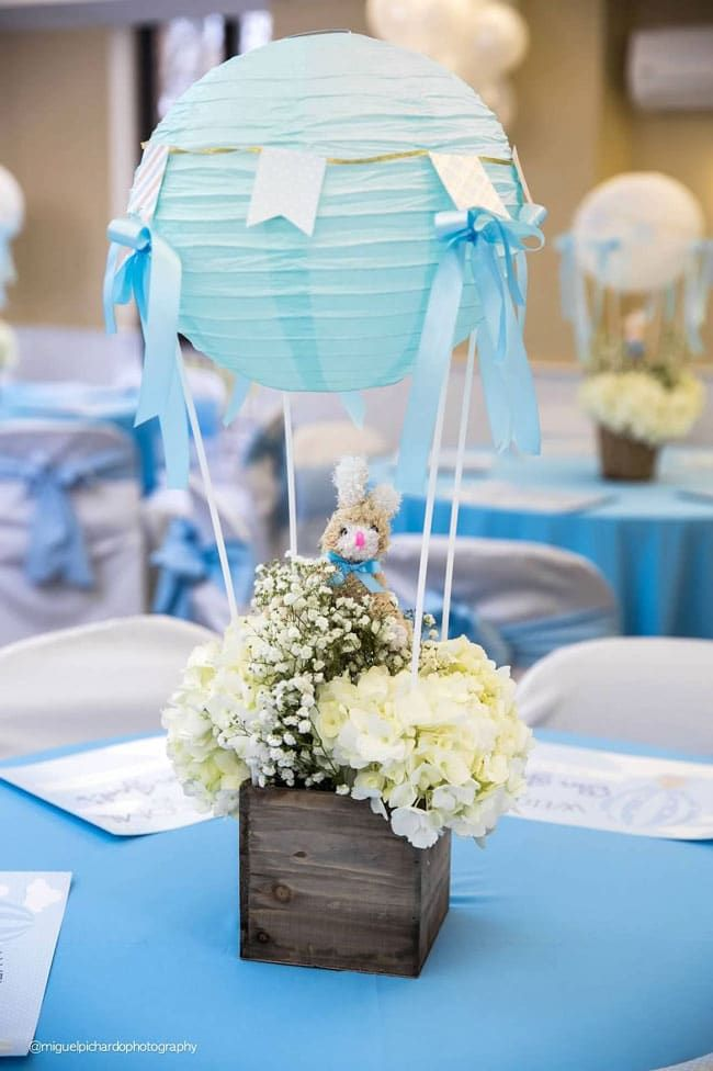 Boy S Hot Air Balloon First Birthday Party Table Centerpiece