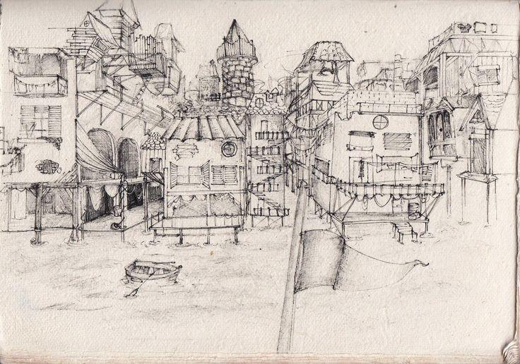 ville pirate city village drawing art