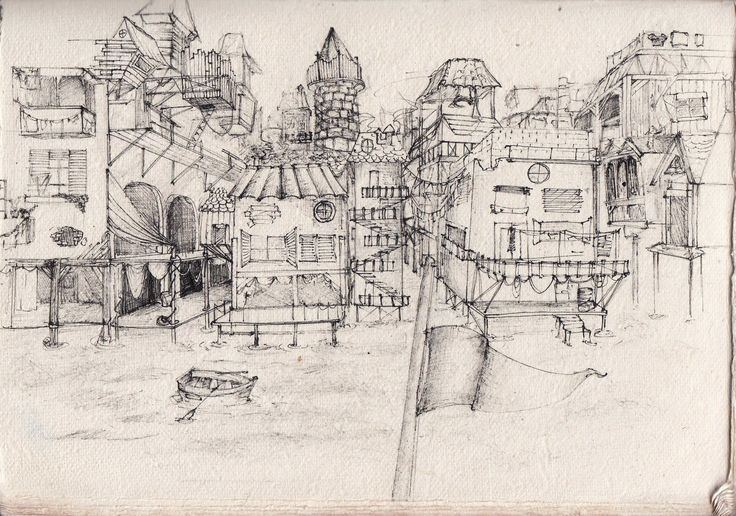 ville pirate city village drawing art