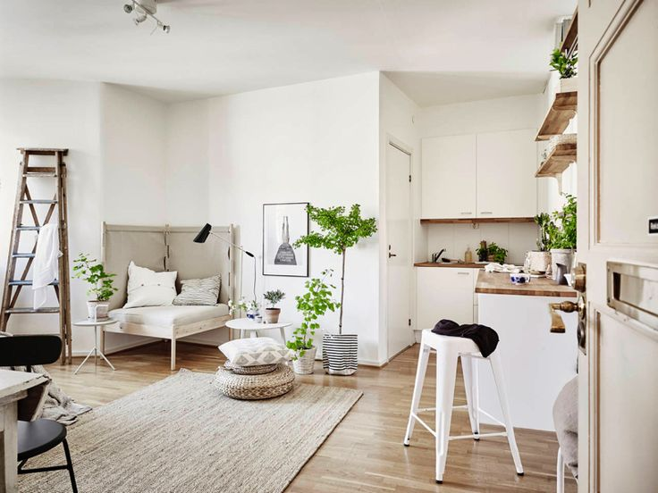 SMALL APARTMENT WITH A NATURAL LOOK all of this! the rug, colors, kitchen