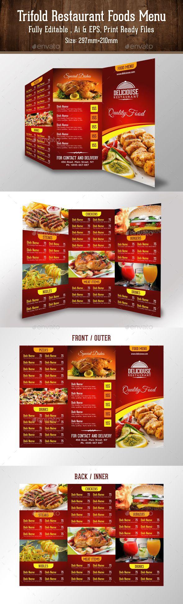 1000 images about Trifold Restaurant Menu Template – A La Carte Menu Template