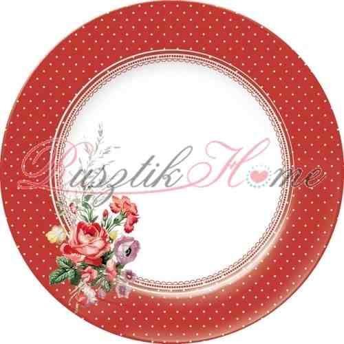 Scarlet Posy Red piros alapon fehér pöttyös, virágmintás porcelán nagy tányér. A brit Creative Tops Katie Alice kollekciójának darabja. Átmérője: 23 cm. http://rusztikhome.hu/tanyerok/524-scarlet-posy-nagy-tanyer-23-cm.html